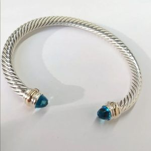 David Yurman Classic Cable Bracelet Blue Topaz